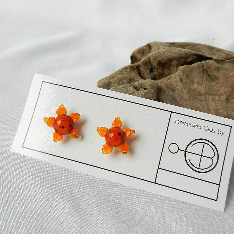 Ohrstecker mit einer Glasperle, Sonnenblumen,Ohrringe aus Silber