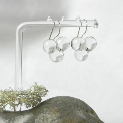 glasperlenohrring aus transparentem muranoglas,handgefertigtes unikat von schmuckes glas,silber