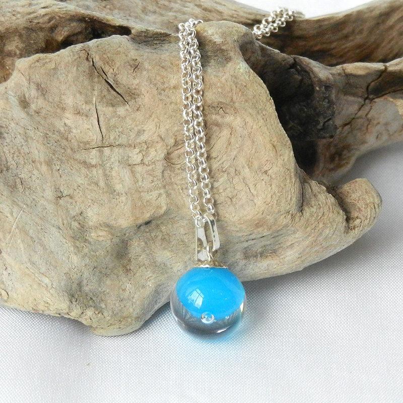 Silberkette mit Glasperle, Anhänger mit Muranoglas Perle in türkis, blaue glasperl, handgefertigt von schmuckes Glas