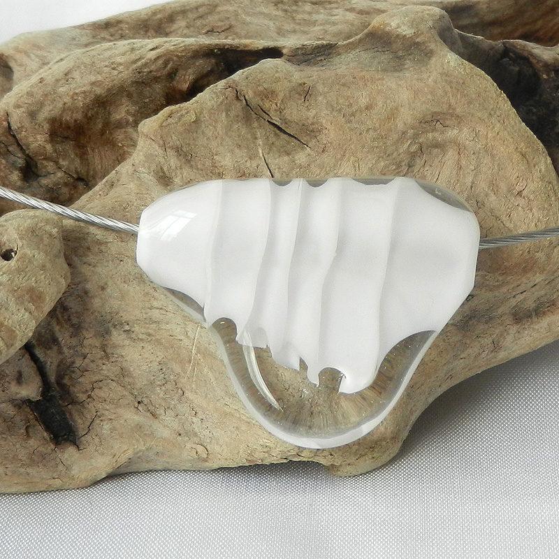 Glasperle, weiß, Muranoglas, Halsreifen aus Edelstahl