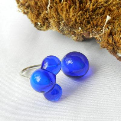 Silberring mit blauen Glasperlen, Glasring, handgefertigtes Unikat von schmuckes Glas, Muranoglas Ring