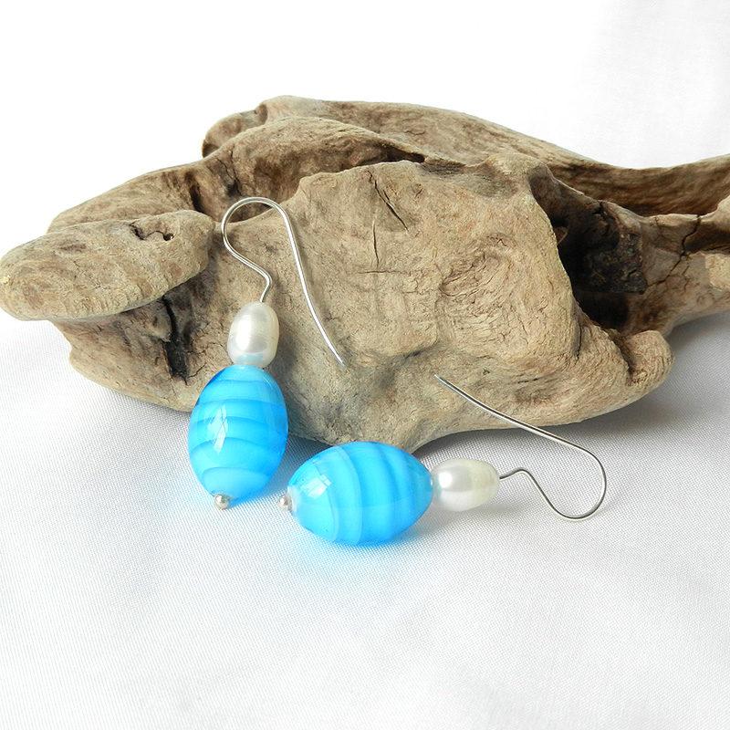 Ohrringe Glasperlen mit Perlen, Glas türkis, handgefertigte Glasperlen aus Muranoglas, Unikat, Silber Ohrringe