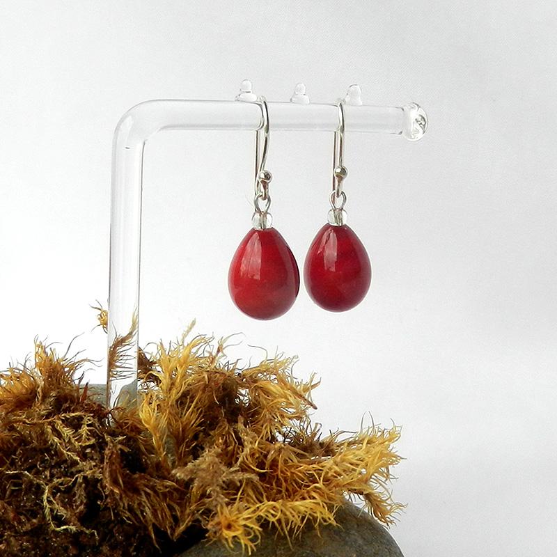 rote Tropfen Ohrringe von schmuckes Glas, rote Glasperlen ohrringe, handgefertigt