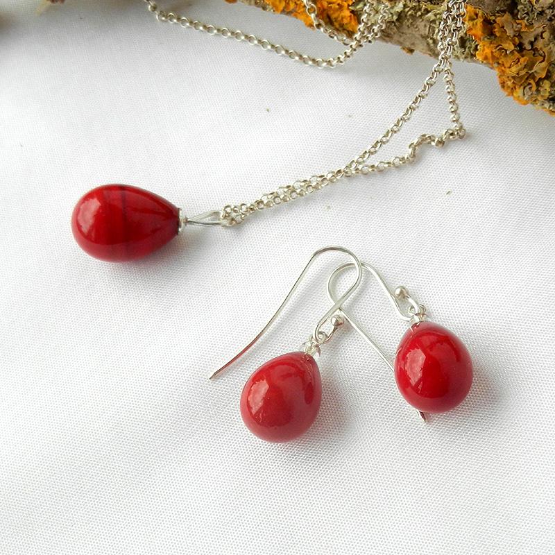 set,rote Tropfen Ohrringe von schmuckes Glas, rote Glasperlen ohrringe, handgefertigt