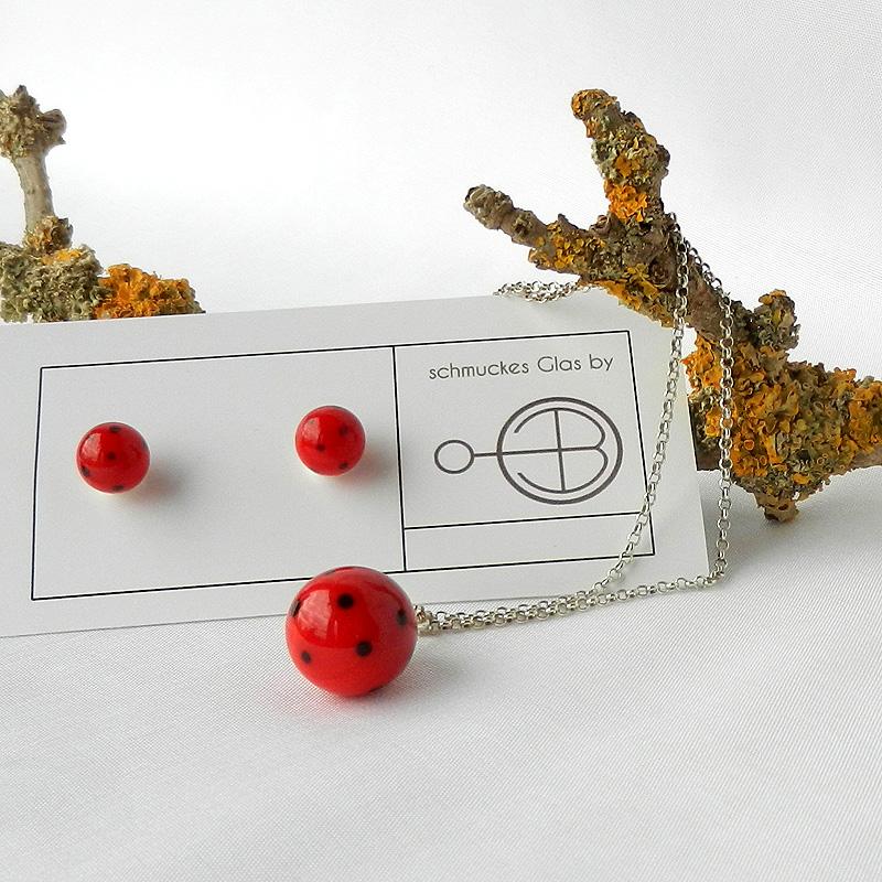 Set rote Glasperlen, Ohrringe rot mit schwarzen Punkten, Silberohrringe, Anhänger rote Perle, schwarzgepunktet, handgearbeitet von schmuckes glas.