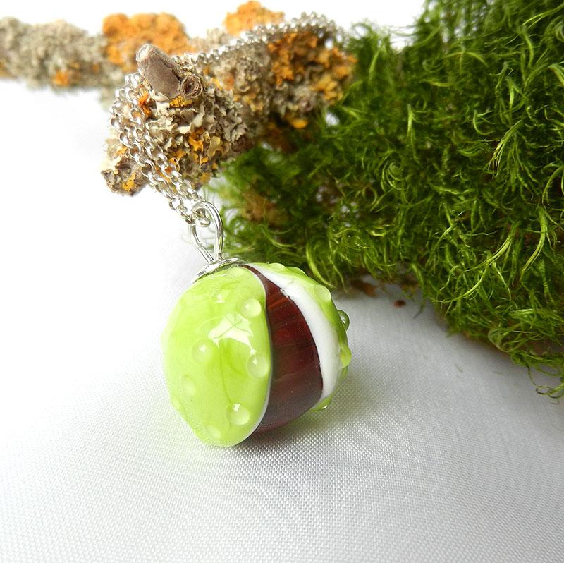 handgearbeitete Glasperle Kastanie, Anhänger mit Silberöse