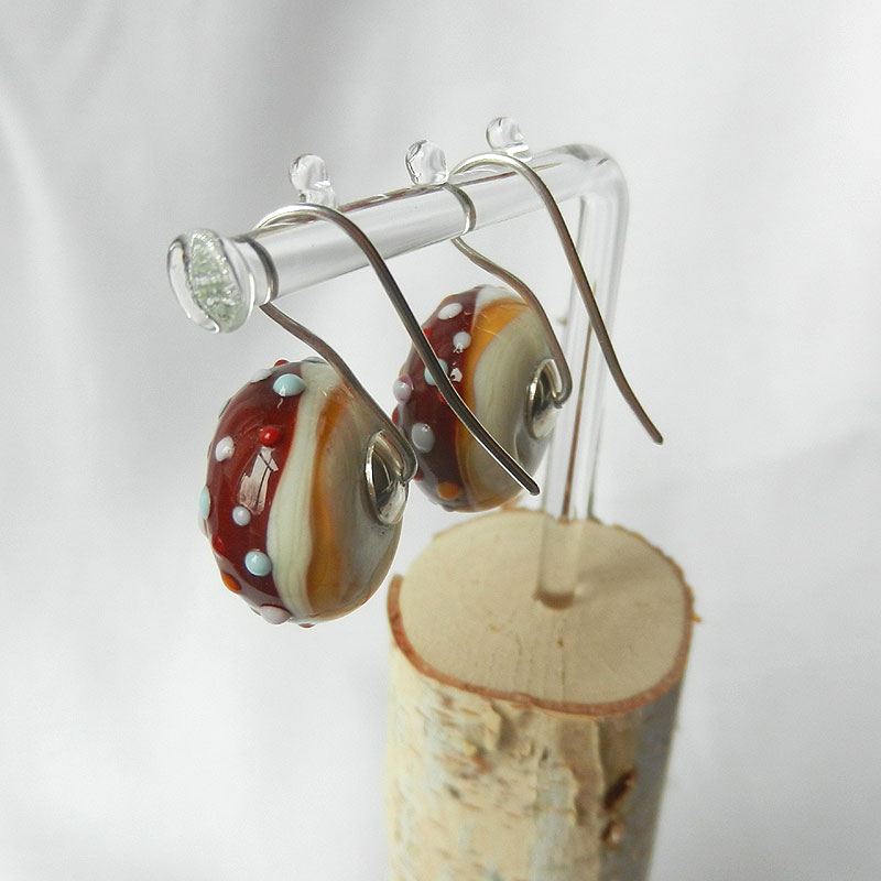 Ohrringe Donut, handgefertigte Glasperlen an Silberohrringen
