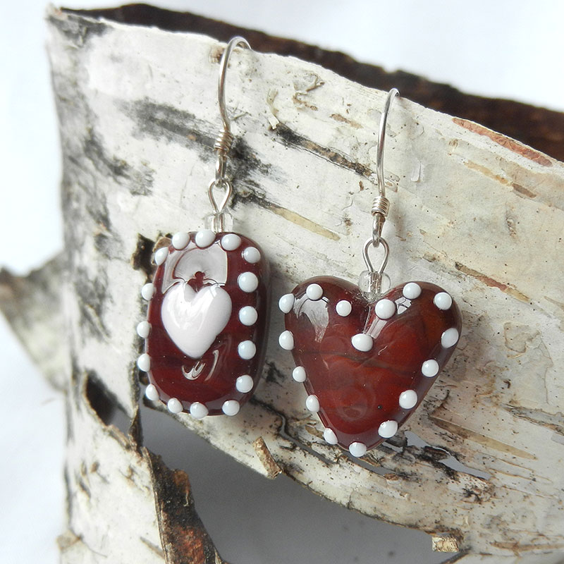 Ohrringe Lebkuchen aus Glas, handgefertigte Unikate von schmuckes Glas