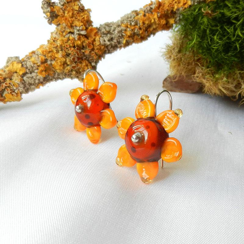 Ohrringe Sonnenblume, Glasperlen handgefertigt mit Soonenblumen, Silberne Ohrhänger