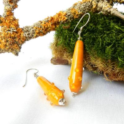 Senfgelbe lange Ohrringe aus Glas, Silberohrringe