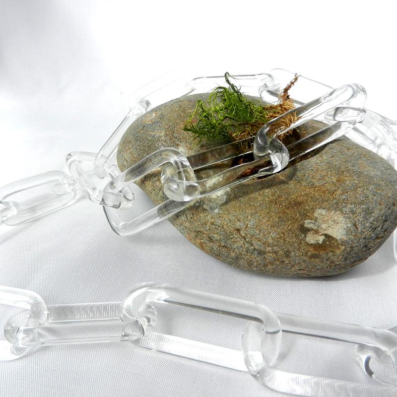 Statement kette aus klarem Glas, Gliederkette handgefertigt von schmuckes Glas, langes transparentes Collier
